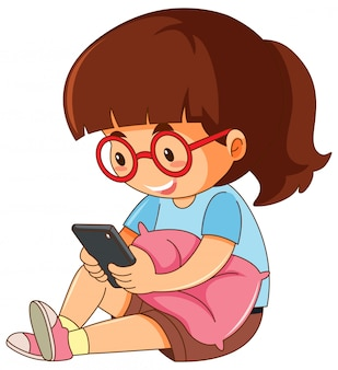 Um, menina, jogando telefone móvel