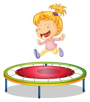Um, menina, jogando trampoline