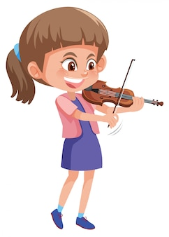 Um, menina, jogando violino