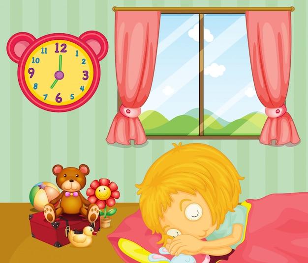 Um, menina jovem, dormir, soundly, em, dela, quarto