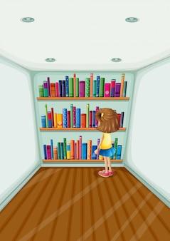 Um, menina jovem, frente, a, bookshelves, com, livros