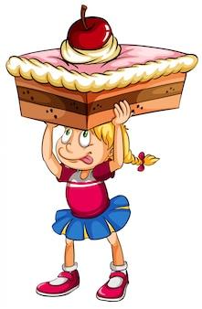 Um, menina jovem, pensando, ligado, um, bolo