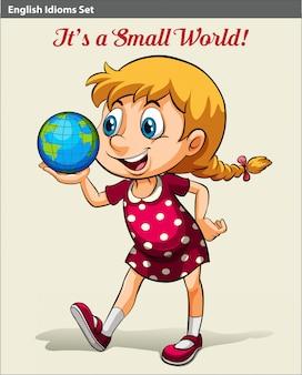 Um, menina jovem, segurando, a, globo