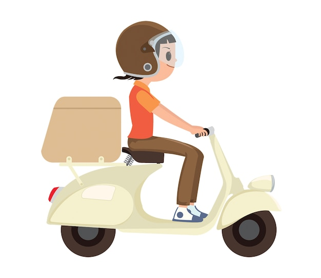 Um, menina, montando, um, scooter entrega