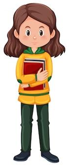 Um, menina morena, estudante, personagem