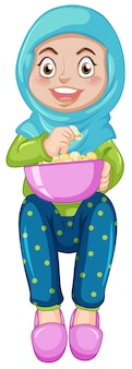 Um, menina muçulmana, comer, pipoca