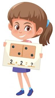 Um, menina, segurando, matemática, pergunta, cartão