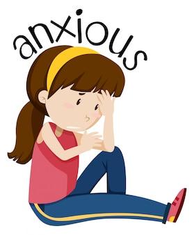 Um, menina, tendo, ansioso