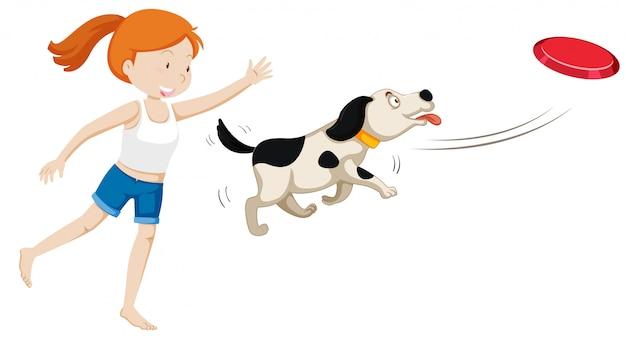 Um, menina, treinar um cão