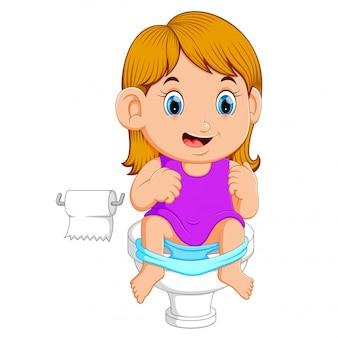 Um, menina, usando, banheiro