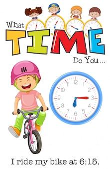 Um menino andando de bicicleta às 6:15