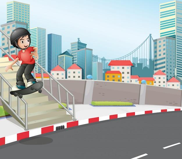Um menino andando de skate na rua perto da escada