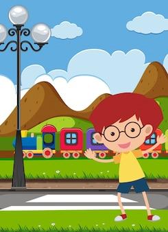 Um menino atravessando a estrada