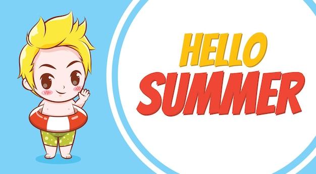 Um menino bonito e uma pista de natação com uma faixa de saudação de verão