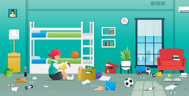 Um menino brincando de travesso em um quarto bagunçado.