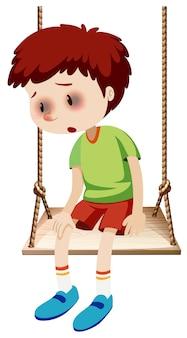 Um menino com olhos negros machucado