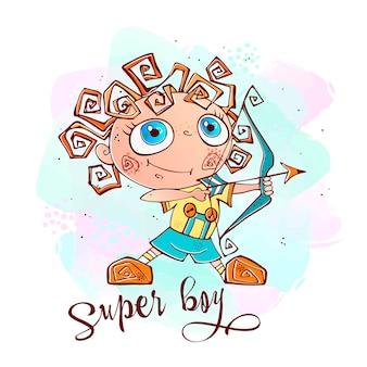 Um menino com um arco e flecha.