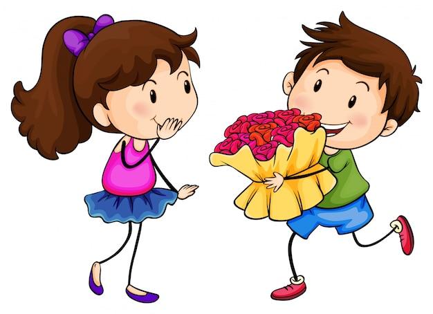 Um menino com um buquê de flores