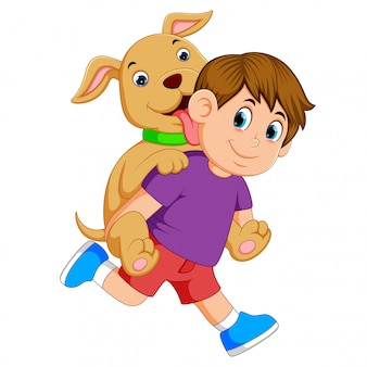 Um menino com um pano roxo e calça vermelha é pegar o seu cão bonito