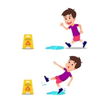 Um menino correu e escorregou no chão molhado