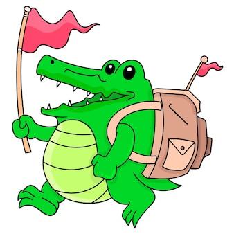 Um menino crocodilo verde carregando uma sacola com uma cara feliz vai em uma aventura, doodle draw kawaii. ilustração vetorial arte