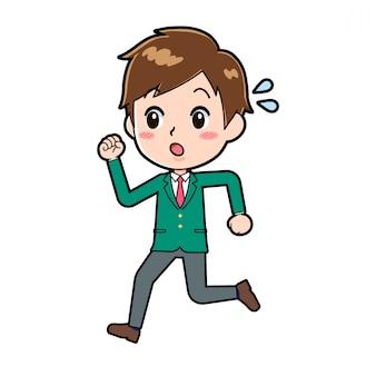 Um menino da escola correndo