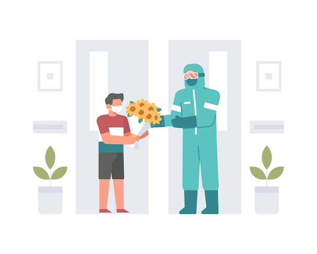 Um menino dando um buquê de flores para um médico ou médico que usa materiais perigosos ou equipamento de proteção individual na ilustração do hospital