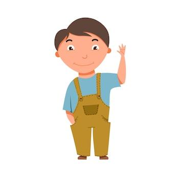 Um menino de pele clara e cabelos escuros acena. personagem de childes engraçado de vetor no estilo cartoon.