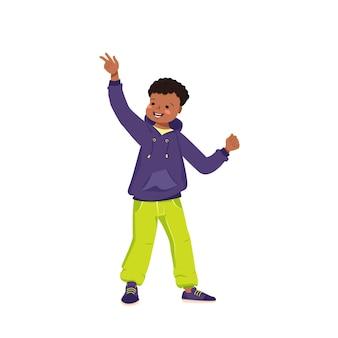 Um menino de pele escura em um moletom, jeans e tênis sorri. criança feliz com cabelo preto encaracolado. adolescente afro-americano com roupas brilhantes. dia mundial da criança. ilustração vetorial