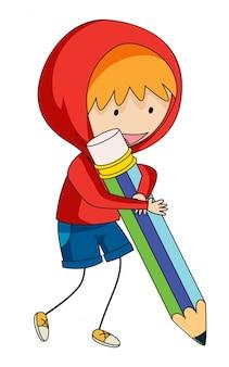 Um, menino doodle, segurando, lápis