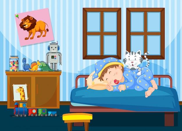 Um menino dormindo no quarto