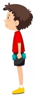 Um menino e exercícios de musculação
