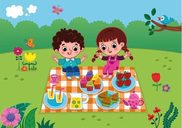 Um menino e uma menina fazendo um piquenique.