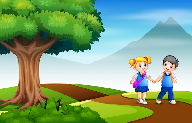 Um menino e uma menina indo para a escola