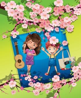 Um menino e uma menina no parque