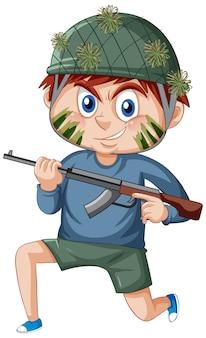 Um menino em um personagem de desenho animado de soldado