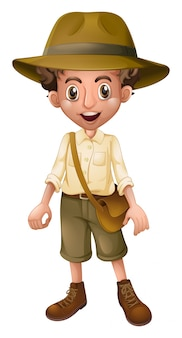 Um, menino, escoteiro, desgastar, chapéu