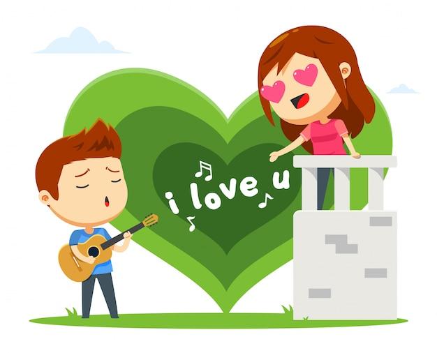 Um menino está cantando para sua namorada