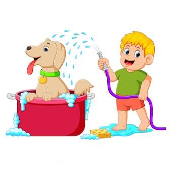 Um menino está limpando seu cachorro marrom no balde vermelho com água e sabão