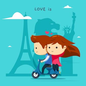 Um menino está montando uma scooter azul com sua garota