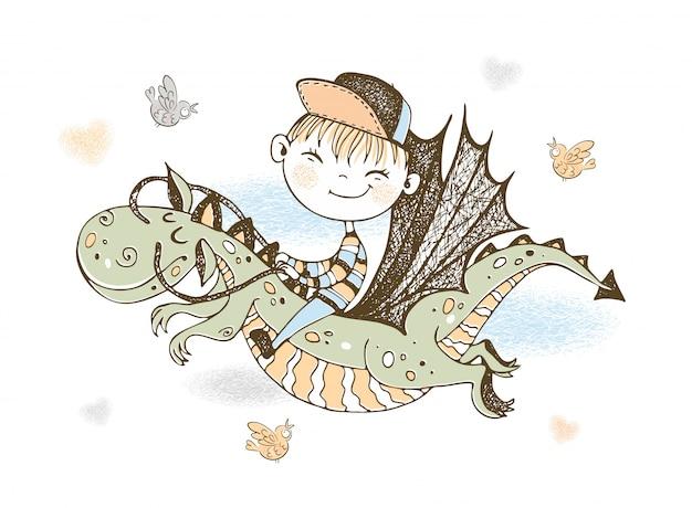 Um menino está voando em um dragão de conto de fadas.