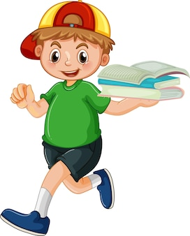 Um menino feliz segurando um livro de personagem de desenho animado sobre fundo branco