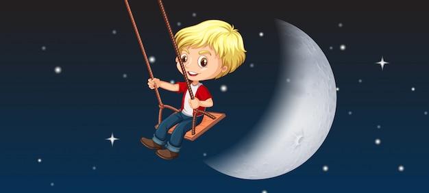 Um, menino, jogando balanço, céu, fundo