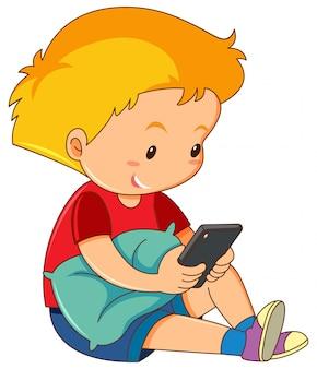 Um, menino, jogando telefone móvel