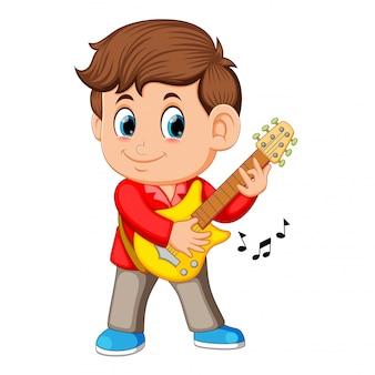 Um, menino jovem, canta, e, jogos, ligado, a, violão elétrico