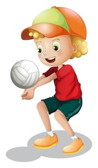 Um, menino jovem, jogando voleibol