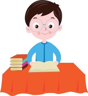 Um, menino, leitura, livro, tabela
