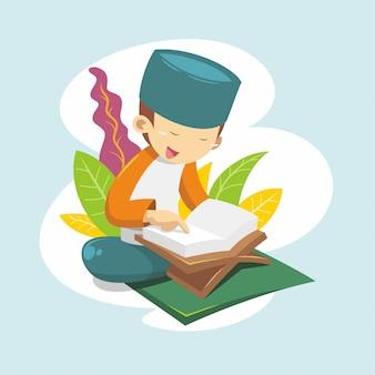 Um menino lendo o alcorão