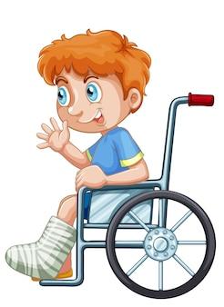 Um, menino, ligado, cadeira rodas