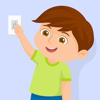 Um menino ligando a lâmpada